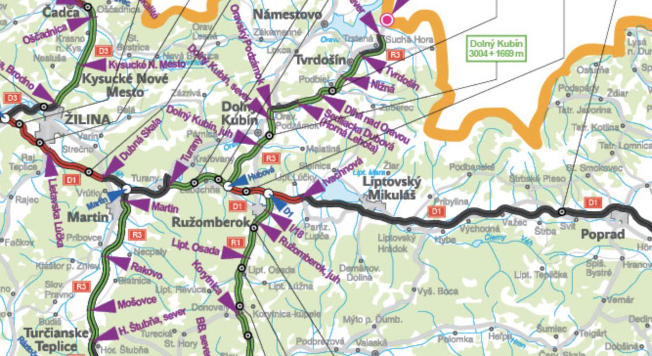 mapa dialnice
